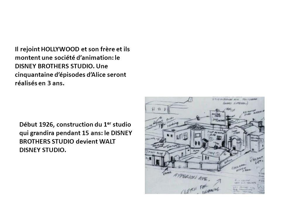 Il rejoint HOLLYWOOD et son frère et ils montent une société d'animation: le DISNEY BROTHERS STUDIO. Une cinquantaine d'épisodes d'Alice seront réalisés en 3 ans.