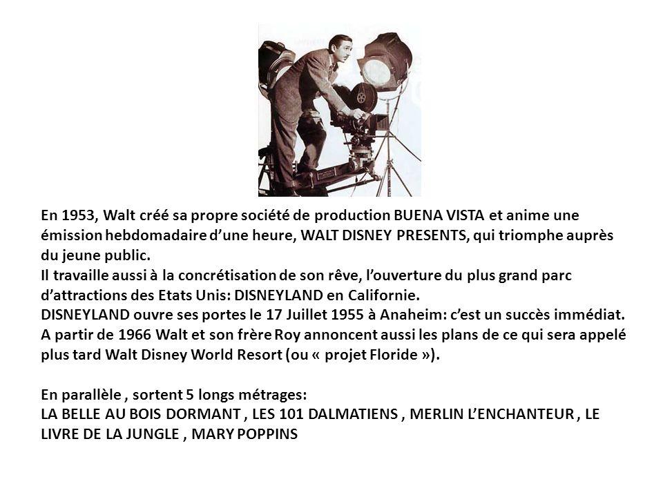 En 1953, Walt créé sa propre société de production BUENA VISTA et anime une émission hebdomadaire d'une heure, WALT DISNEY PRESENTS, qui triomphe auprès du jeune public.