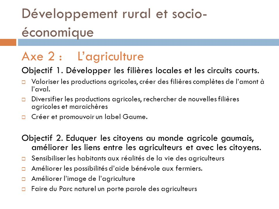 Développement rural et socio-économique