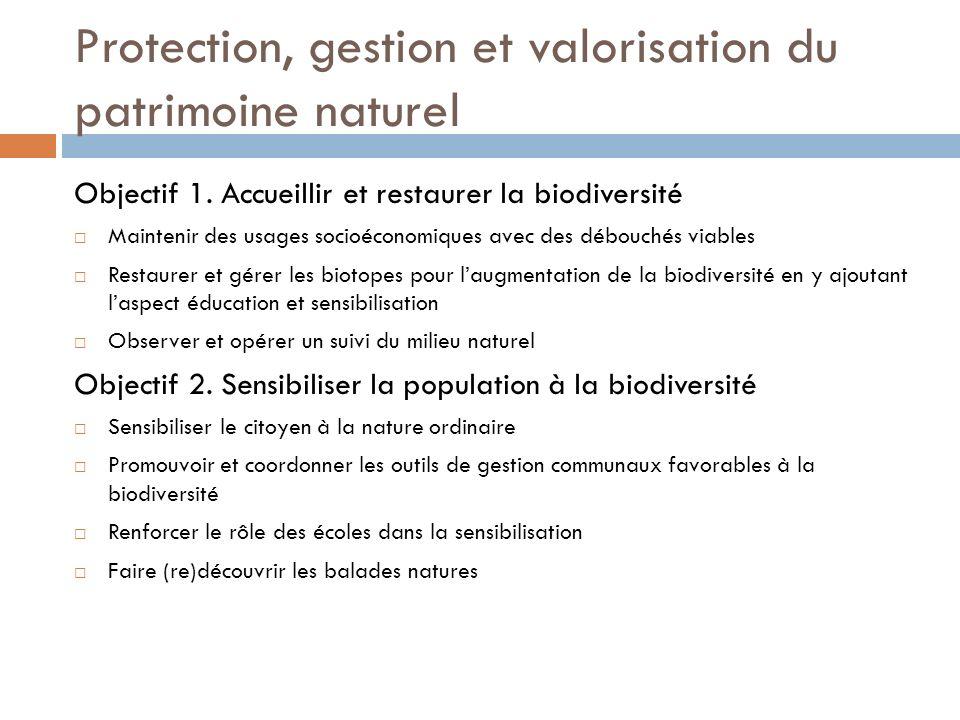 Protection, gestion et valorisation du patrimoine naturel