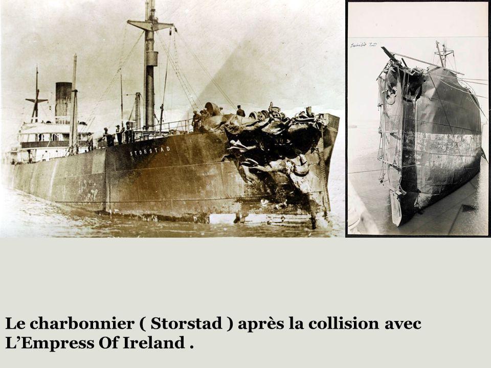 Le charbonnier ( Storstad ) après la collision avec L'Empress Of Ireland .