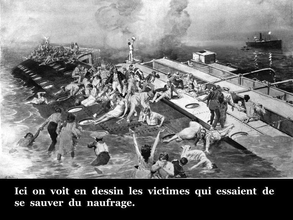 Ici on voit en dessin les victimes qui essaient de se sauver du naufrage.