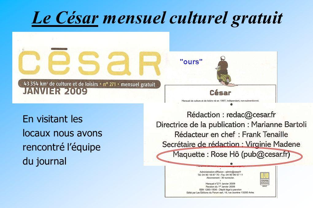 Le César mensuel culturel gratuit