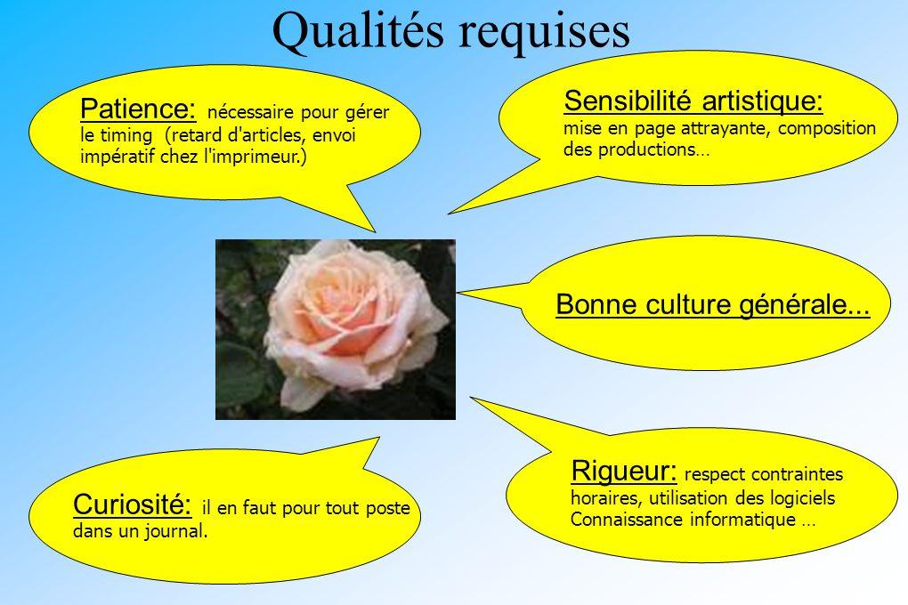 Qualités requises Sensibilité artistique: