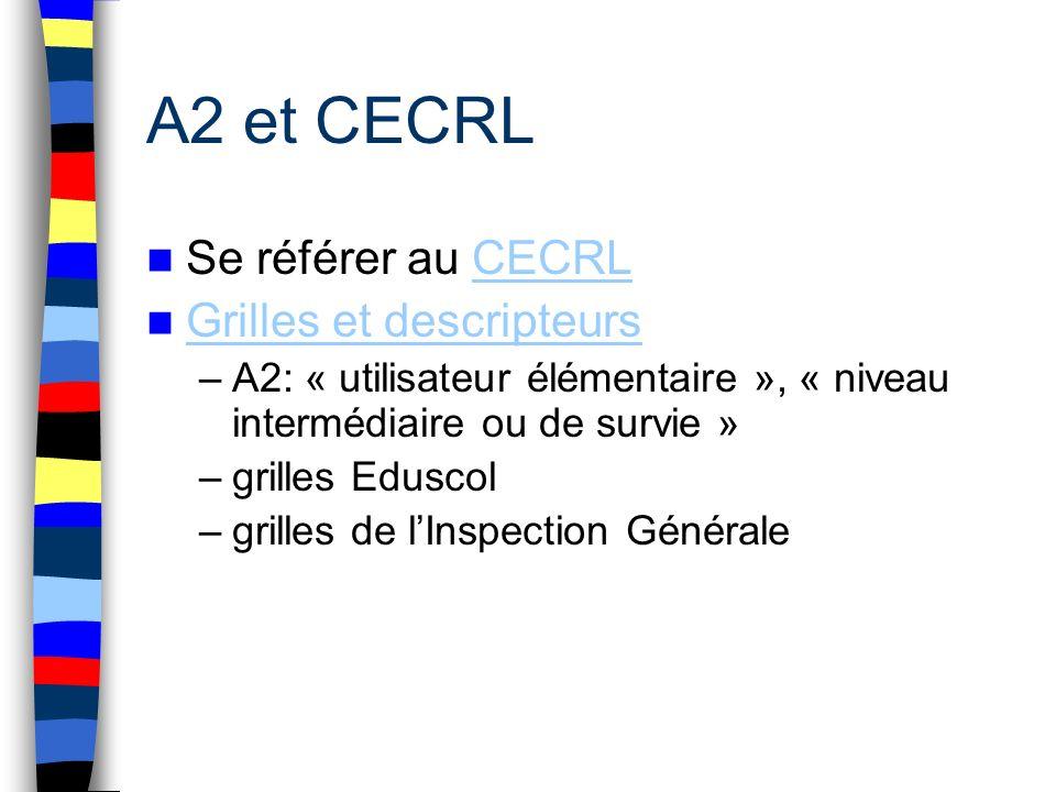 A2 et CECRL Se référer au CECRL Grilles et descripteurs