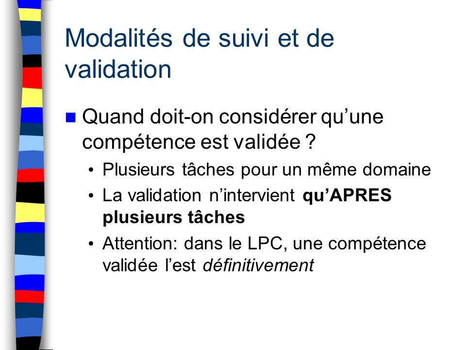 Modalités de suivi et de validation