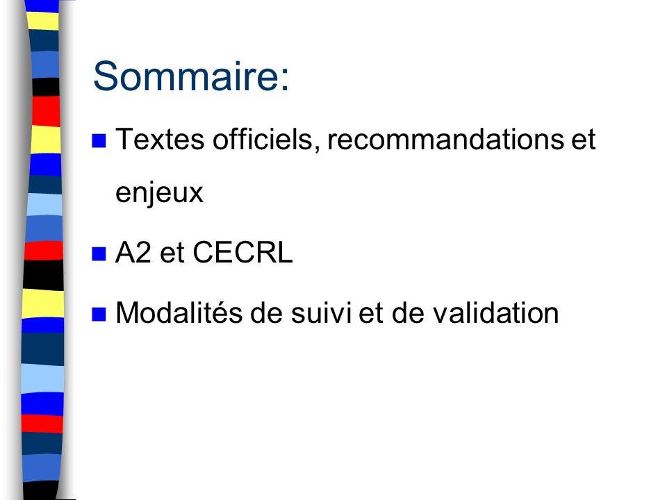 Sommaire: Textes officiels, recommandations et enjeux A2 et CECRL