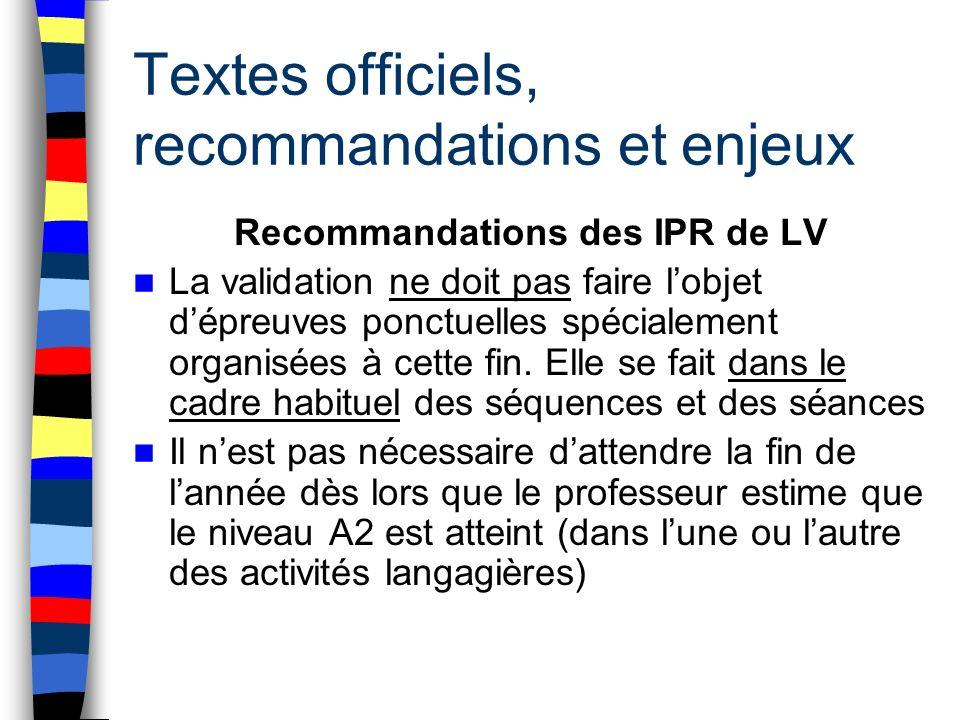 Textes officiels, recommandations et enjeux