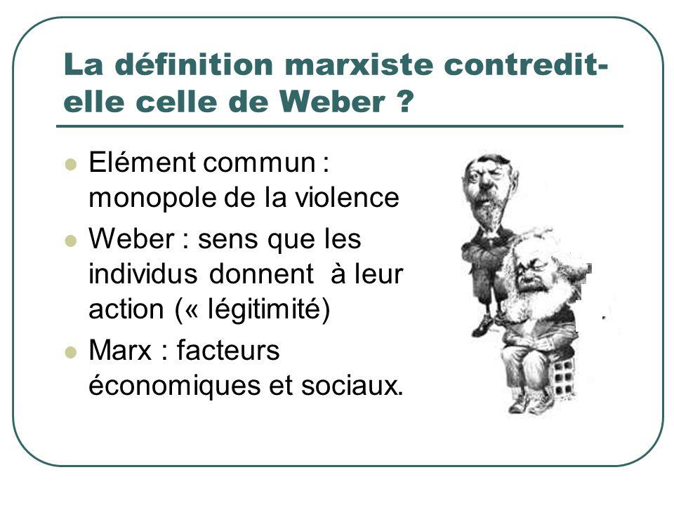 La définition marxiste contredit-elle celle de Weber