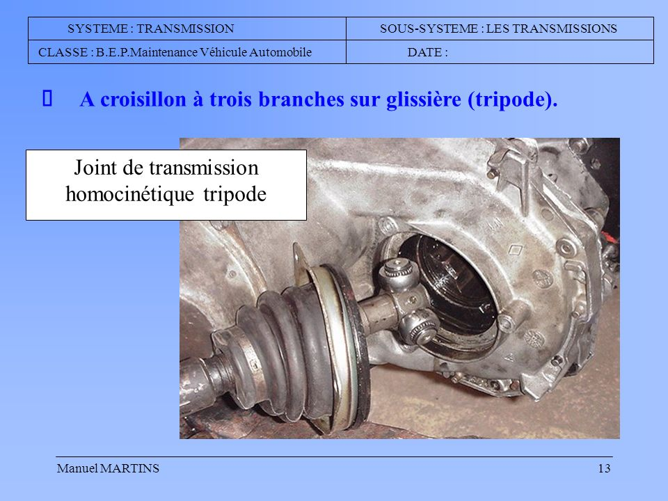 Joint de transmission homocinétique tripode