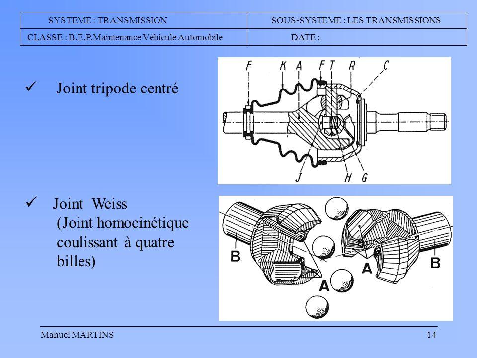 Joint tripode centré Joint Weiss (Joint homocinétique