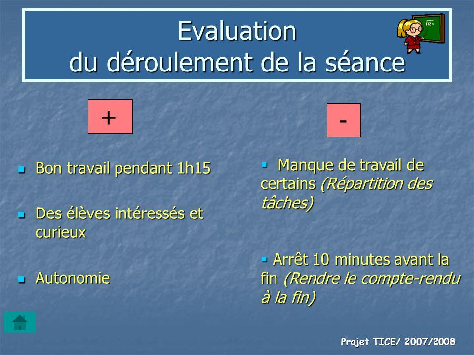 Evaluation du déroulement de la séance