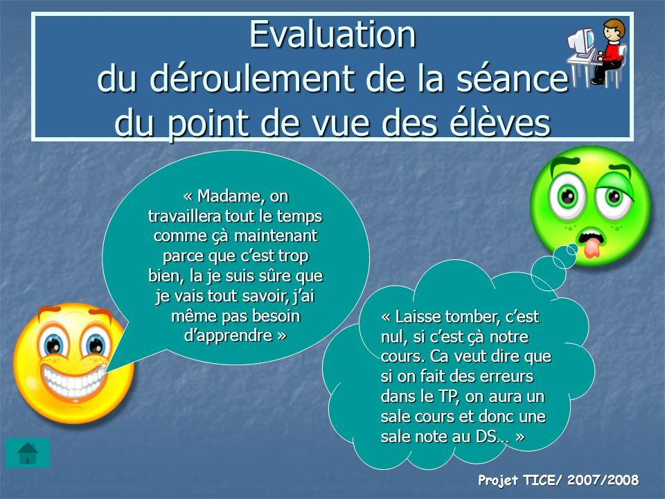Evaluation du déroulement de la séance du point de vue des élèves