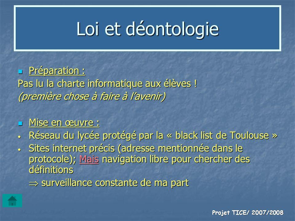 Loi et déontologie Préparation :
