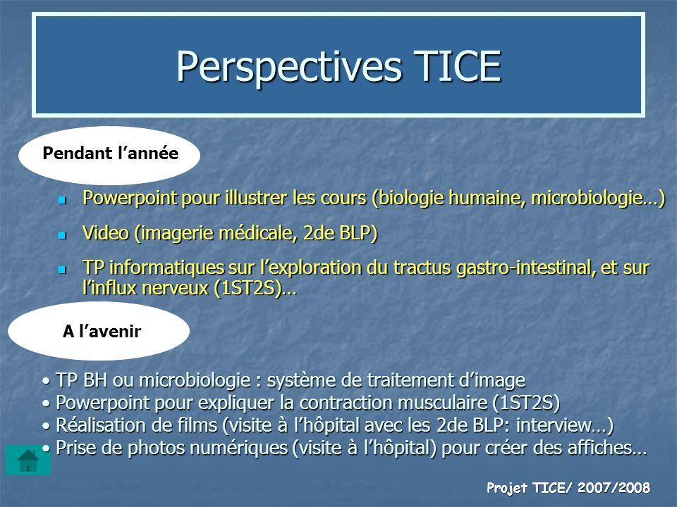 Perspectives TICE Pendant l'année. Powerpoint pour illustrer les cours (biologie humaine, microbiologie…)