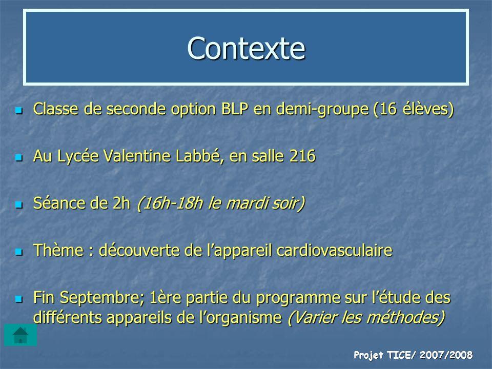 Contexte Classe de seconde option BLP en demi-groupe (16 élèves)