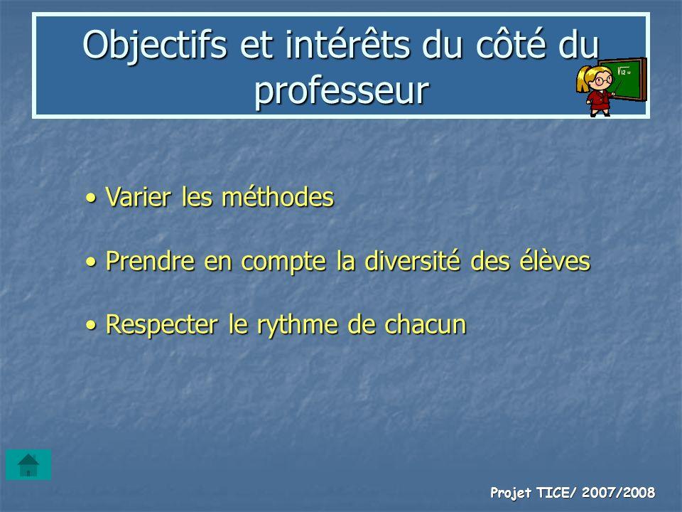 Objectifs et intérêts du côté du professeur