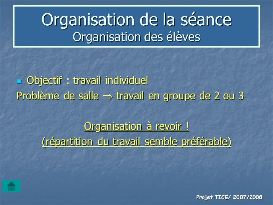Organisation de la séance Organisation des élèves