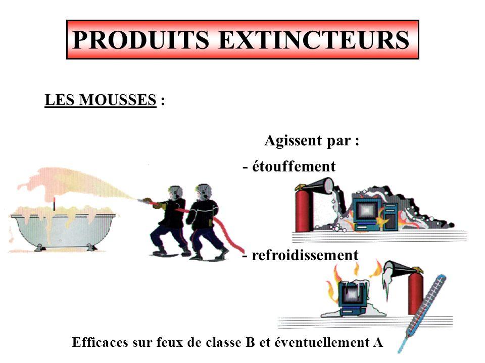 PRODUITS EXTINCTEURS LES MOUSSES : Agissent par : - étouffement