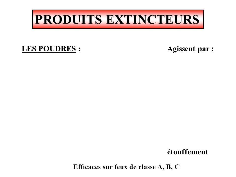 PRODUITS EXTINCTEURS LES POUDRES : Agissent par : étouffement