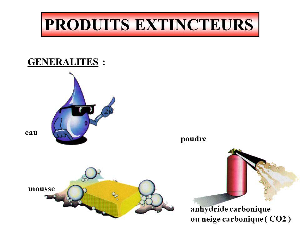 PRODUITS EXTINCTEURS GENERALITES : eau poudre mousse