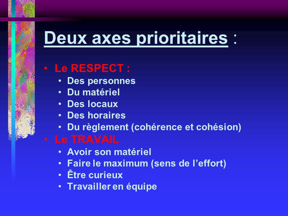 Deux axes prioritaires :