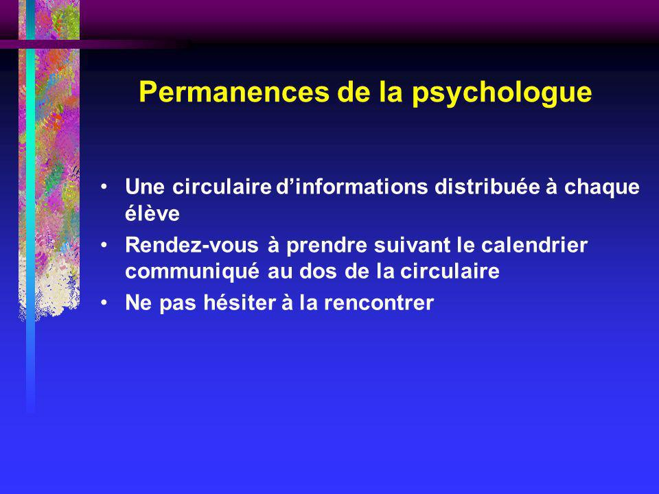 Permanences de la psychologue