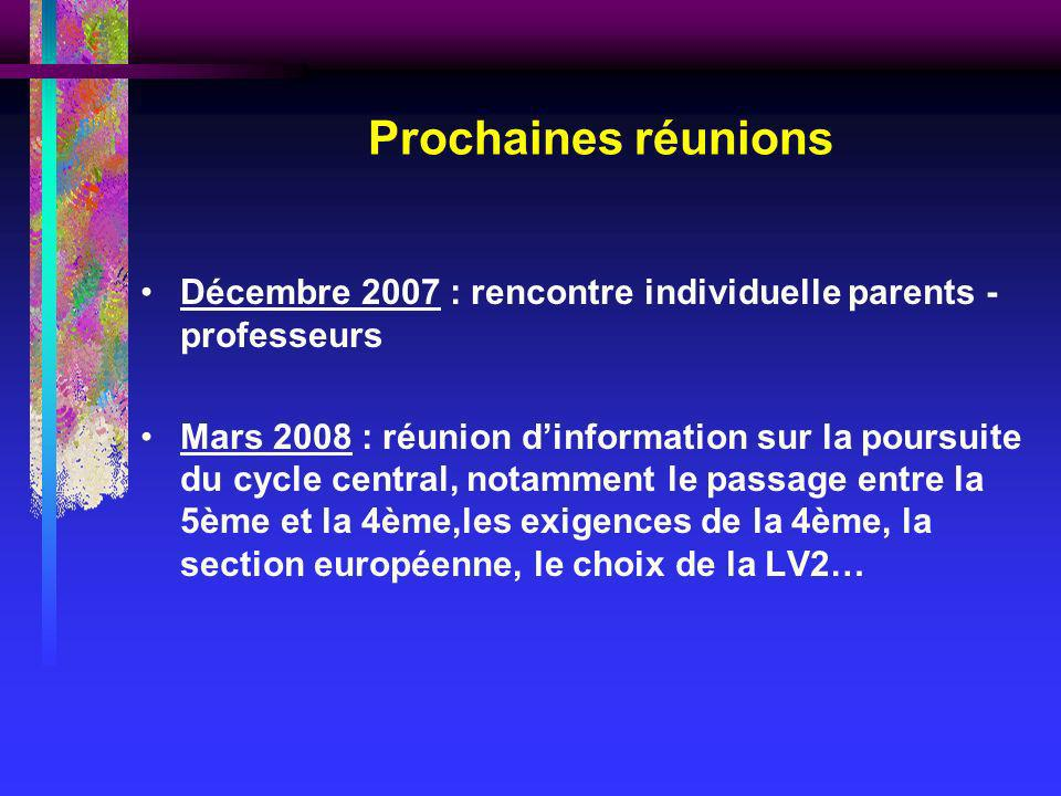 Prochaines réunions Décembre 2007 : rencontre individuelle parents - professeurs.