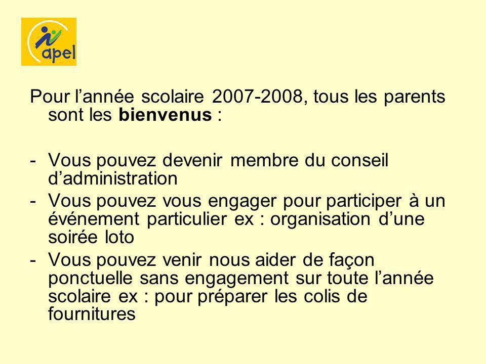 Pour l'année scolaire 2007-2008, tous les parents sont les bienvenus :