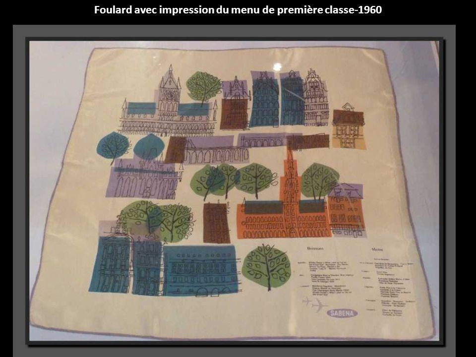 Foulard avec impression du menu de première classe-1960