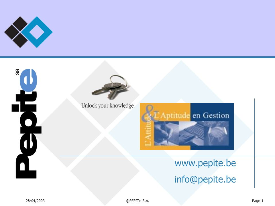 www.pepite.be info@pepite.be 28/04/2003 ©PEPITe S.A.
