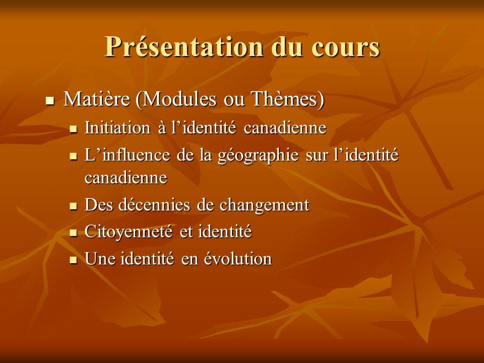 Présentation du cours Matière (Modules ou Thèmes)