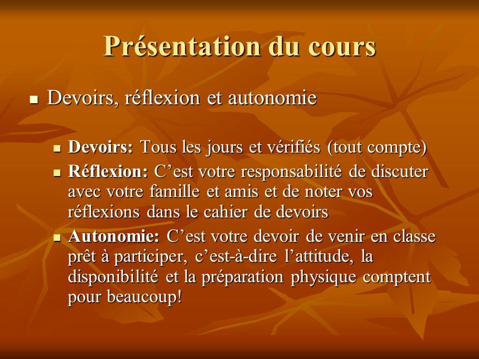 Présentation du cours Devoirs, réflexion et autonomie