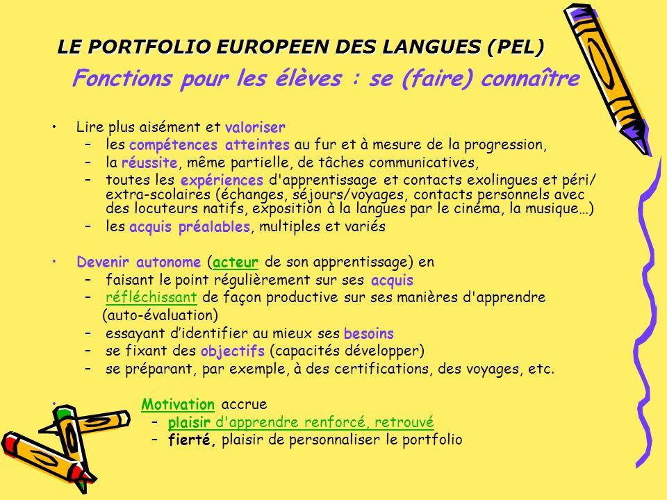 LE PORTFOLIO EUROPEEN DES LANGUES (PEL)