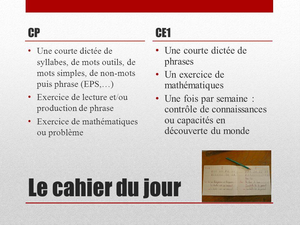 Le cahier du jour CP CE1 Une courte dictée de phrases