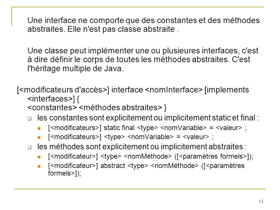 Une interface ne comporte que des constantes et des méthodes abstraites. Elle n est pas classe abstraite .