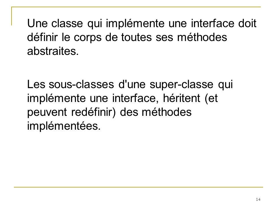 Une classe qui implémente une interface doit définir le corps de toutes ses méthodes abstraites.
