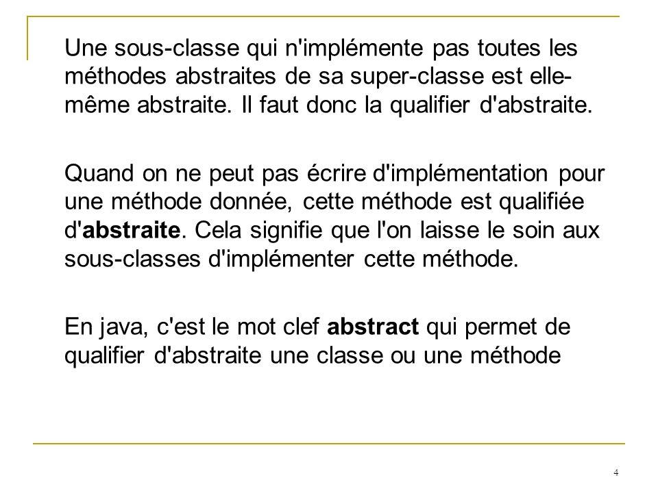 Une sous-classe qui n implémente pas toutes les méthodes abstraites de sa super-classe est elle-même abstraite. Il faut donc la qualifier d abstraite.