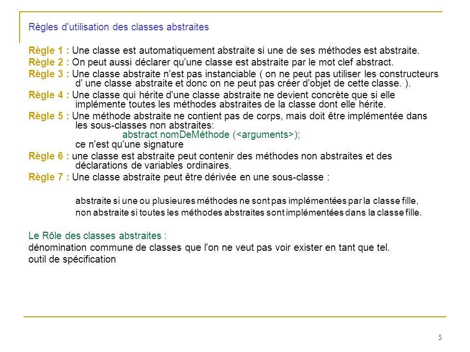 Règles d utilisation des classes abstraites