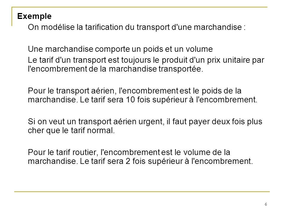 Exemple On modélise la tarification du transport d une marchandise : Une marchandise comporte un poids et un volume.