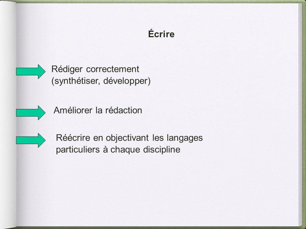 Écrire Rédiger correctement. (synthétiser, développer) Améliorer la rédaction.