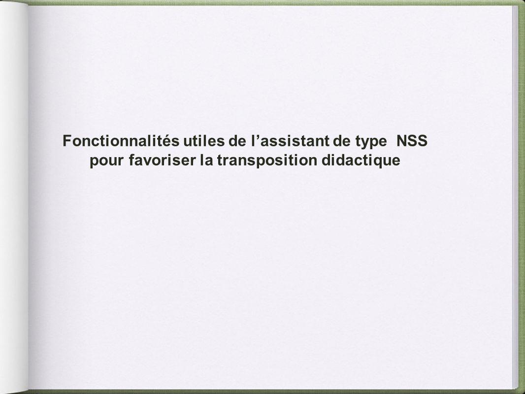 Fonctionnalités utiles de l'assistant de type NSS pour favoriser la transposition didactique