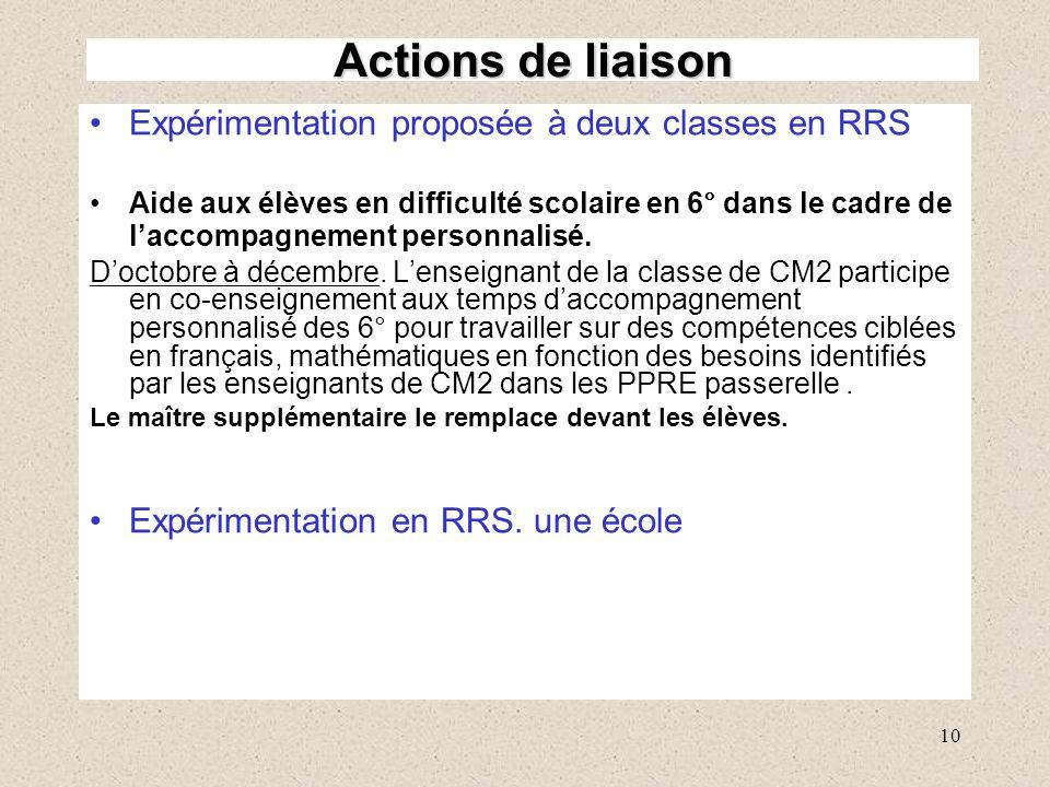 Actions de liaison Expérimentation proposée à deux classes en RRS
