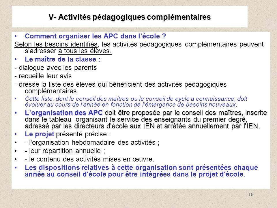 V- Activités pédagogiques complémentaires