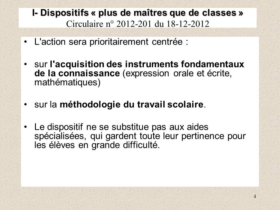 I- Dispositifs « plus de maîtres que de classes » Circulaire n° 2012-201 du 18-12-2012