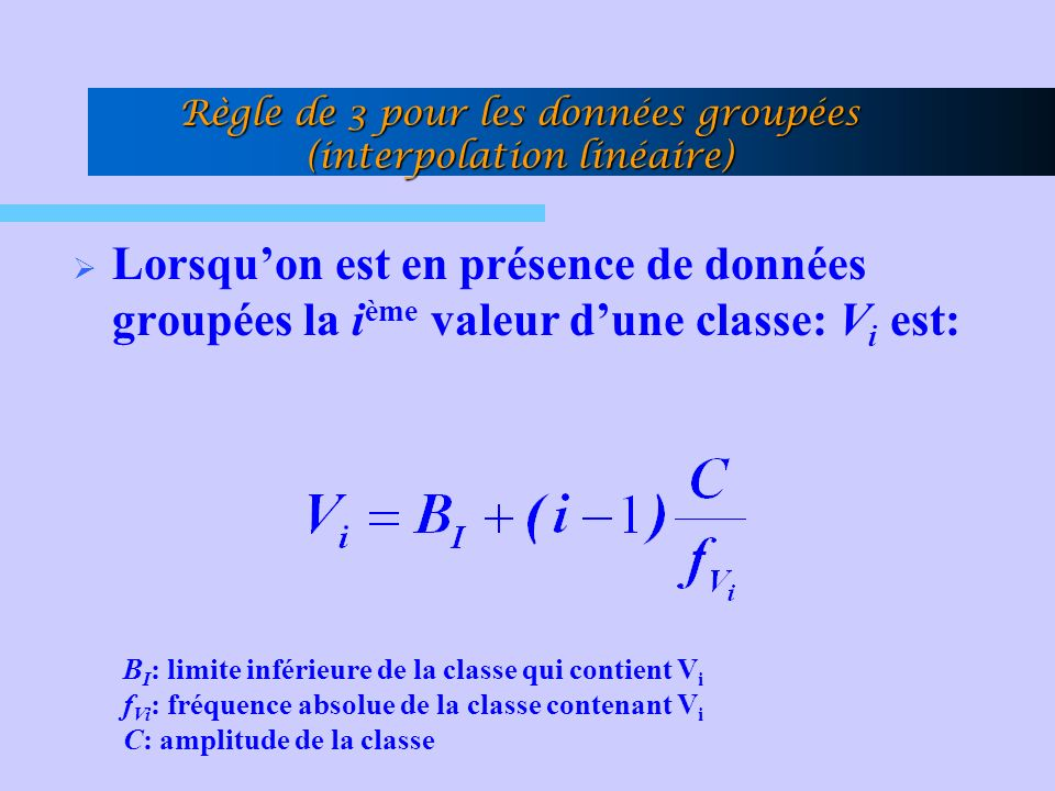 Règle de 3 pour les données groupées (interpolation linéaire)