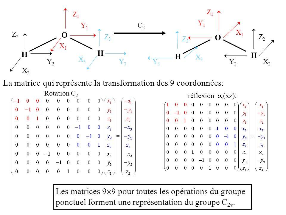 La matrice qui représente la transformation des 9 coordonnées: