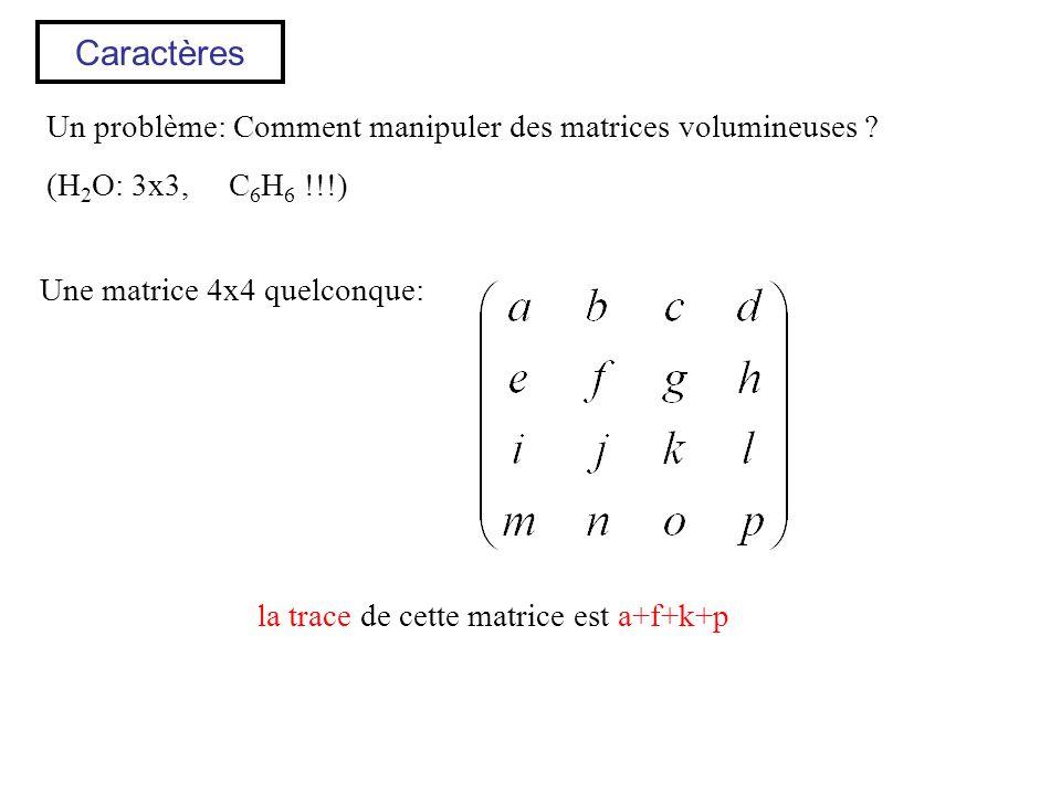 Caractères Un problème: Comment manipuler des matrices volumineuses