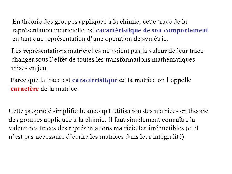 En théorie des groupes appliquée à la chimie, cette trace de la représentation matricielle est caractéristique de son comportement en tant que représentation d'une opération de symétrie.