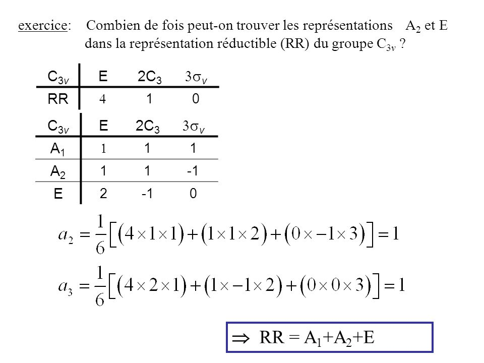 exercice: Combien de fois peut-on trouver les représentations. A2 et E